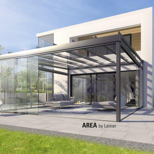LEUNER Glasdachsystem AREA exclusiv mit AREA slide Ganzglasschiebetüren    (Foto: LEINER)
